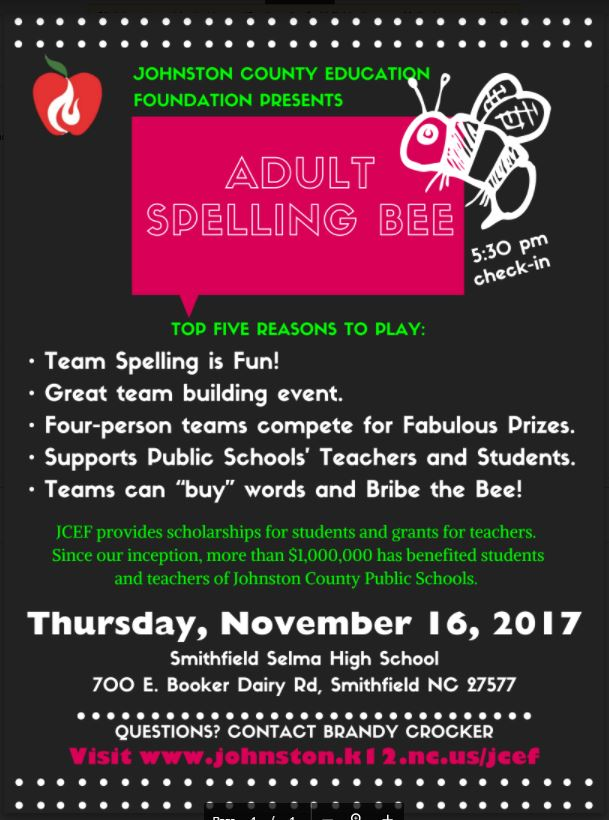 Johnston County Education Foundation Adult Spelling Bee