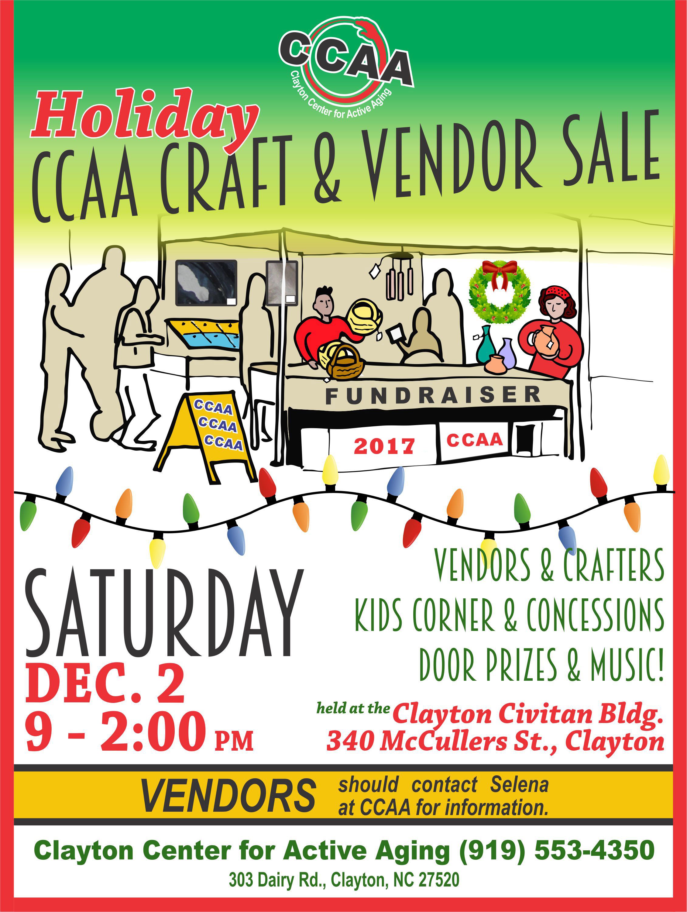 Clayton center for active aging craft vendor sale for Craft shows in nc 2017